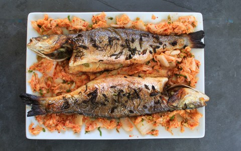 Roasted Sea Bass with Quick Kimchi