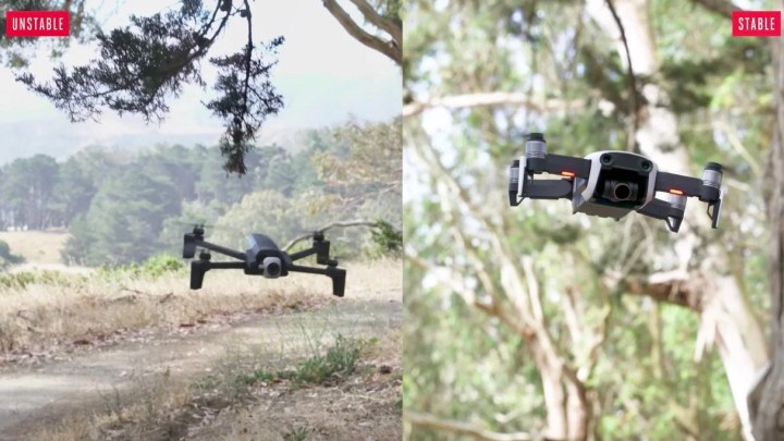 The Verge、Parrot Anafi レビュー、DJI Mavic Airとの安定性の比較