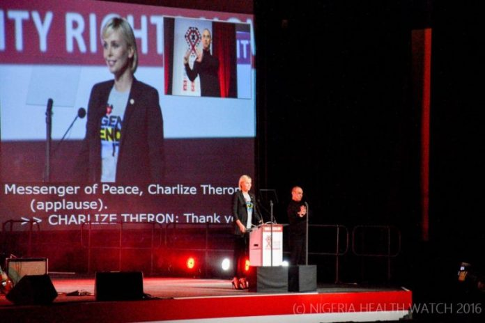 ©Nigeria Health Watch Charlize Theron at the opening ceremony AIDS 2016