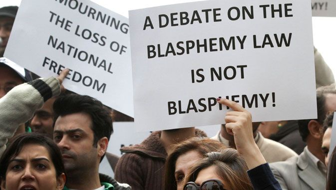 The law blasphemy protest religion