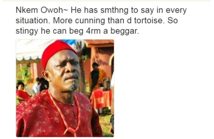 Nollywood Actors and their characteristics - Nkem Owoh