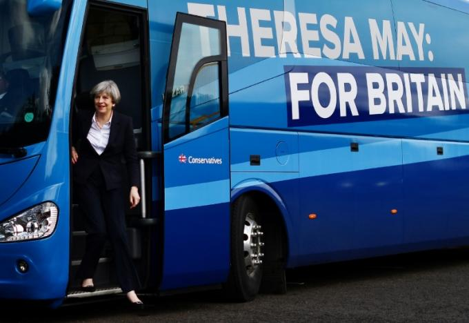 Britain's Prime Minister Theresa May arrives for a general election campaign visit to a tool factory in Kelso