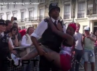 Police having fun at Notting Hill Carnival