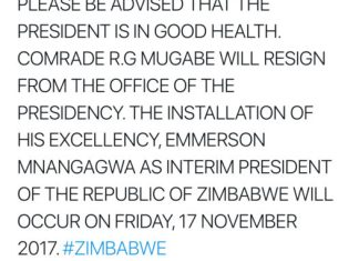 Robert Mugabe resigns