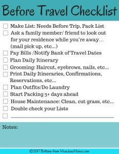 Before Travel Checklist