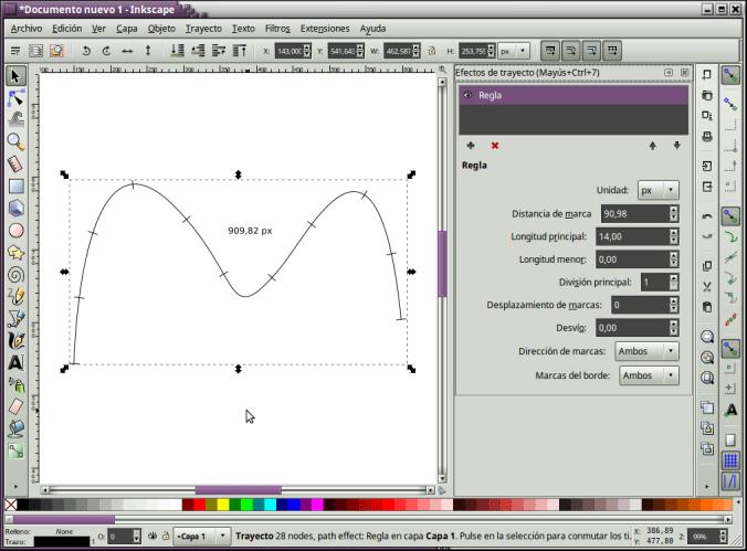 Dividir una línea en segmentos iguales en Inkscape