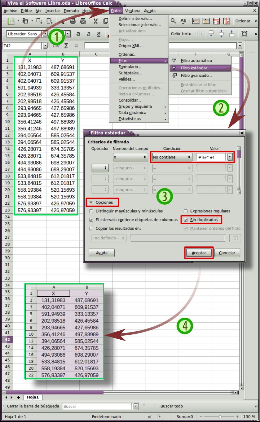 Eliminar filas duplicadas en LibreOffice Calc
