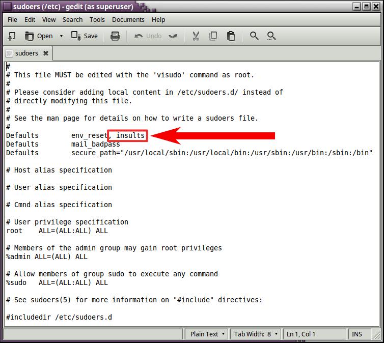 que te insulte la terminal de Linux