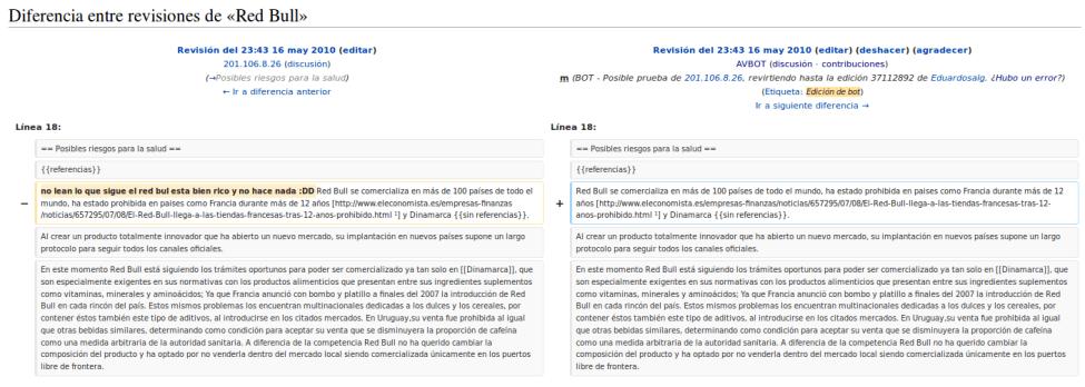 AVBOT revirtiendo una edición en Wikipedia