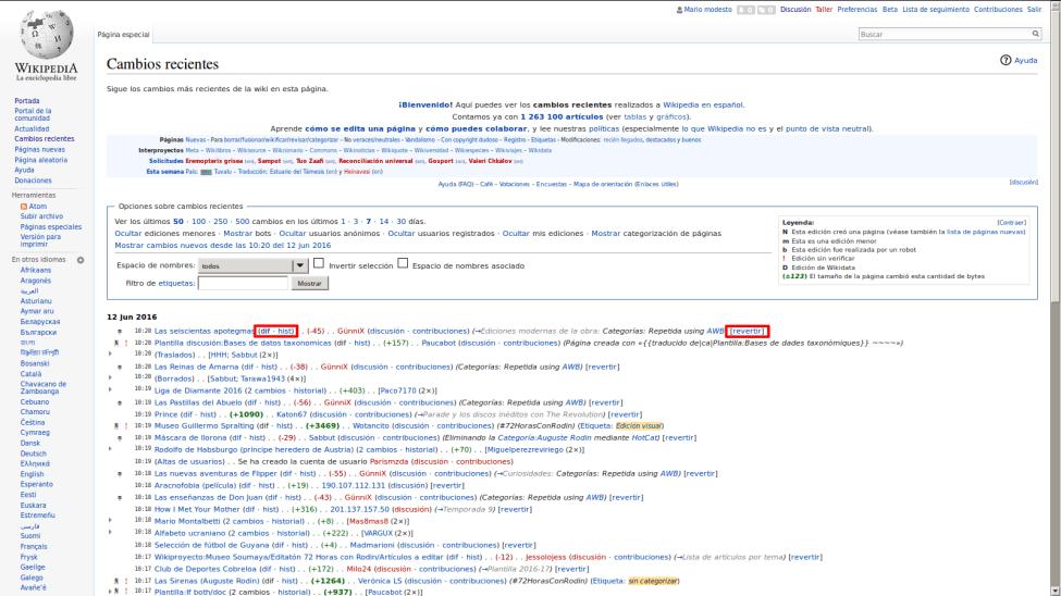 Control de cambios en la Wikipedia