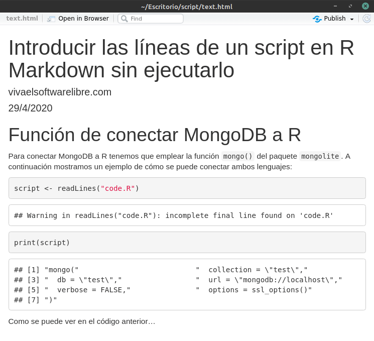 Introducir las líneas de un script en R Markdown e identificar los problemas de visualización