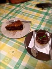Delicate carob and lemon cake and signature chocolate caramel mousse.
