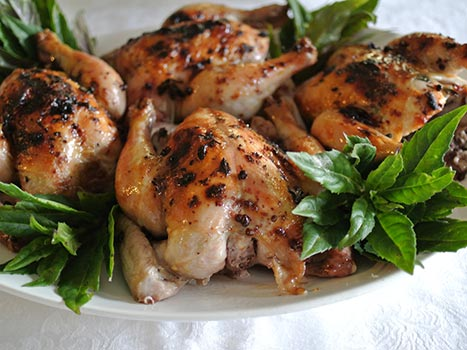 platter of roasted poussin