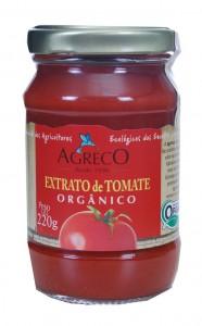A embalagem do extrato de tomate orgânico da Agreco - vidro de 220g
