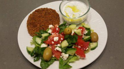 Burger (no bun), salad & tzatziki