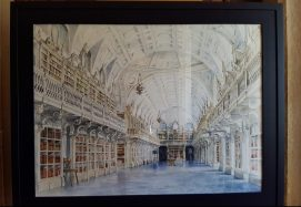 Watercolour painting of Mafra Palace Library | Pintura em aquarela da Biblioteca do Palácio de Mafra