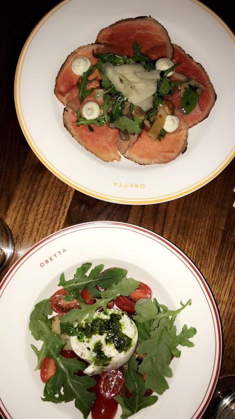beef carpaccio and burrata