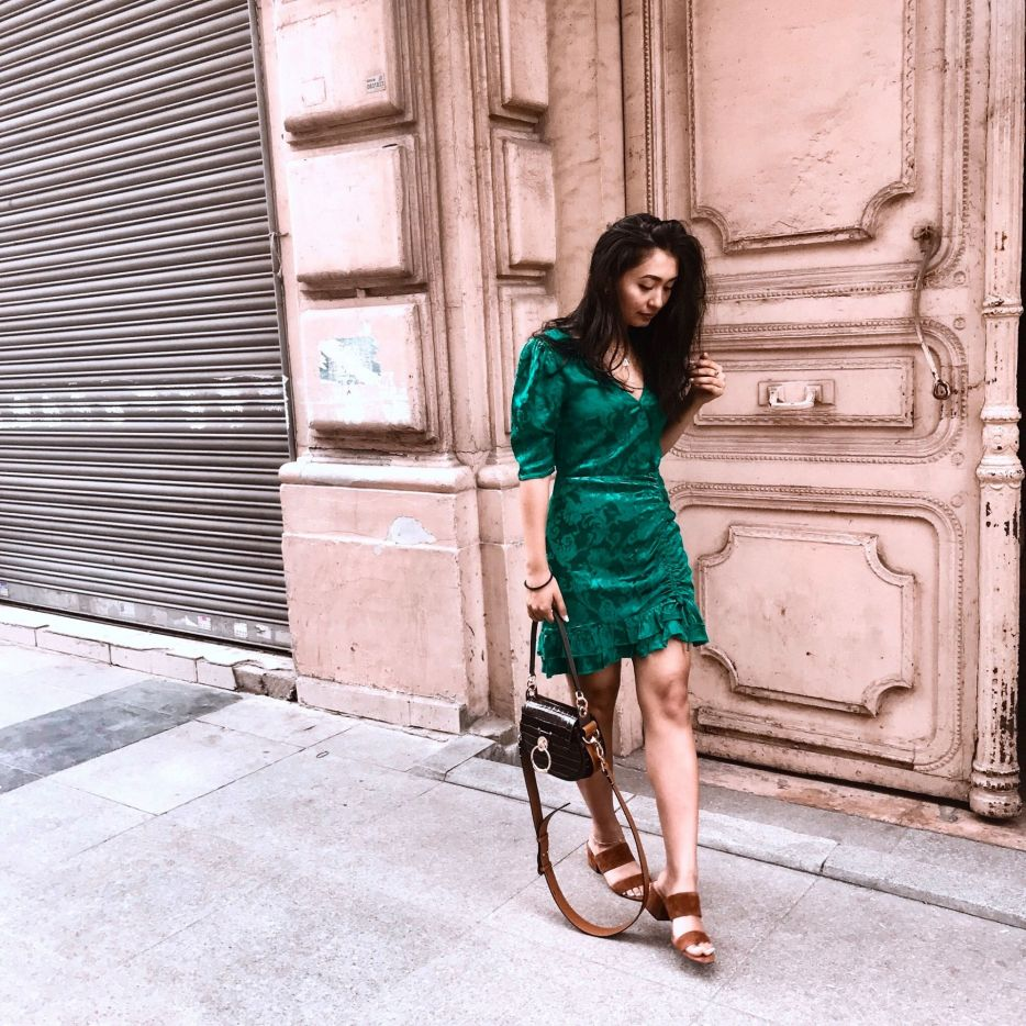 outfit 6- revolve green jacquard dress and vince camuto sandals with chloe bag