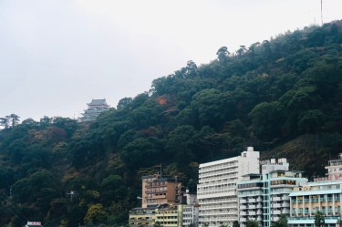 Atami castle from sun beach