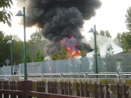 Foto incendio piscina camping Jolly a Marghera