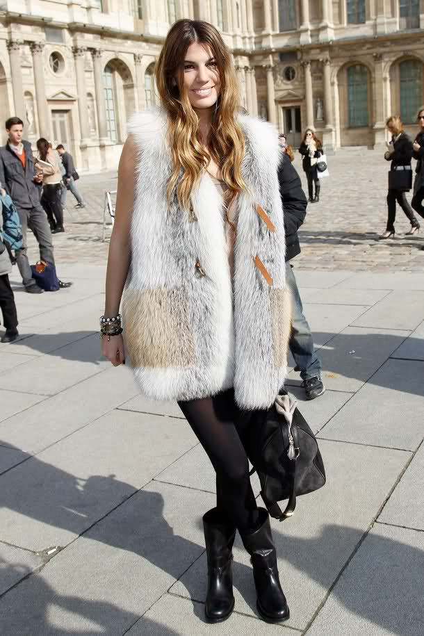 how-to-wear-a-fur-vest-booties-short-dress