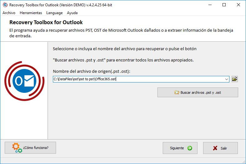 Imagen 3.1. - Recovery Toolbox for Outlook. Selección del archivo PST dañado.