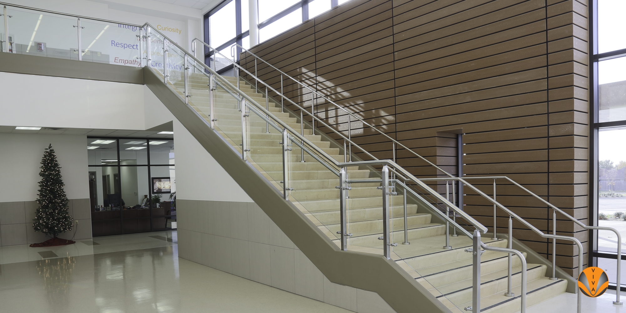Stair Glass Railing Systems Cube™ R E Good Elementary Carrollton | Stairs Railing Designs In Steel With Glass | Single Wall | Interior | Eye Catching | Steel Main Gate | Contemporary