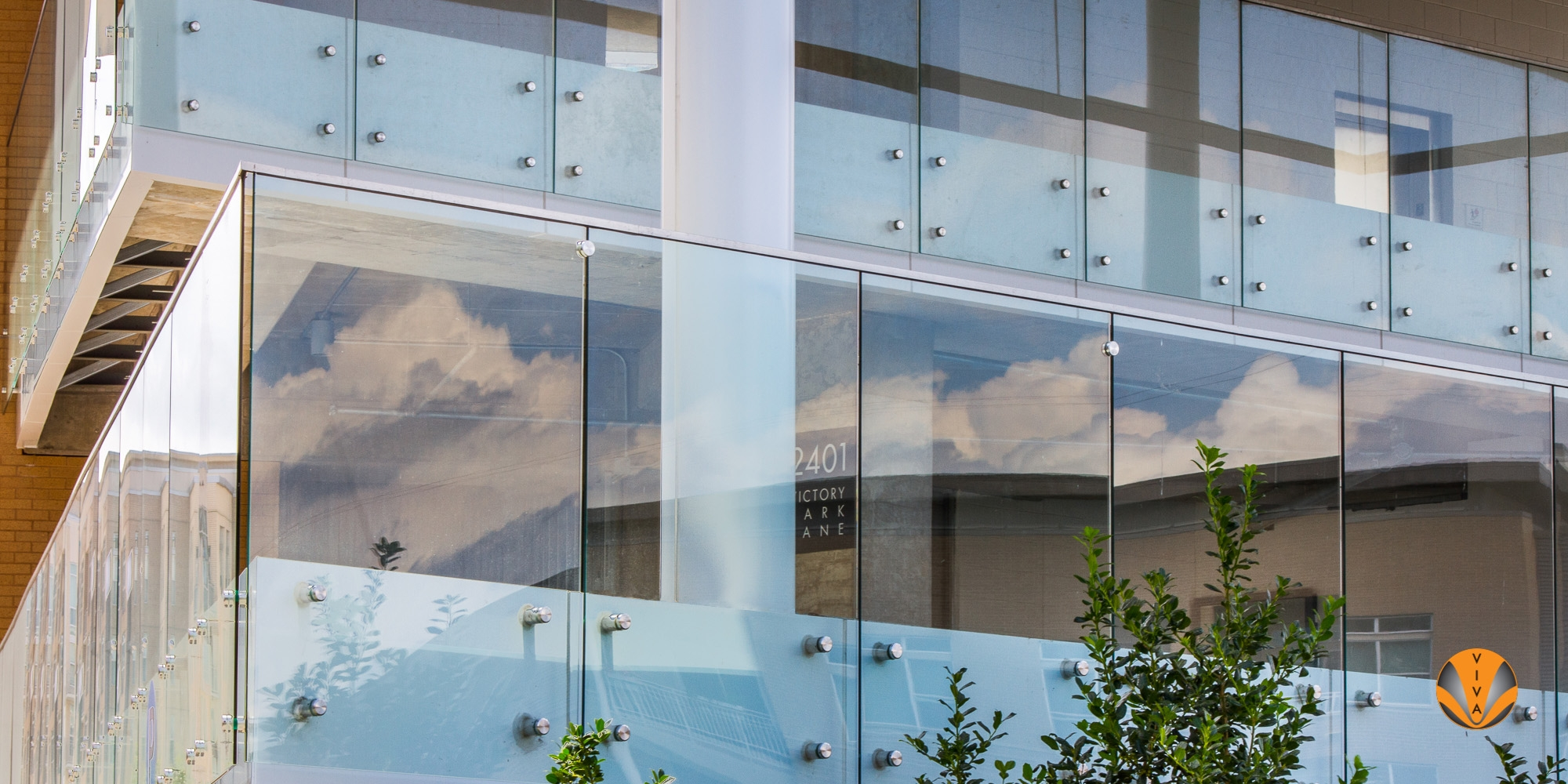 View Button Glass Balcony Railing Victory Park Block D Dallas   Glass Handrails For Balcony   Glass Guardrail   Exterior   Stainless Steel   Staircase   Veranda
