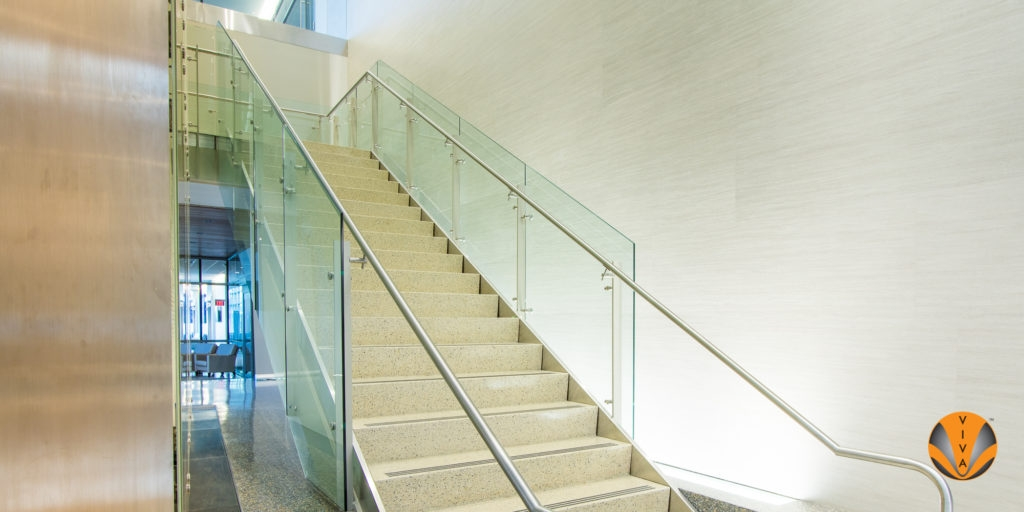 Viva Railings Leaders In Stainless Steel Modular Railing Systems   Staircase Handrail Glass Designs   Crystal   Work   Steel   White Modern Glass   Stairs Side Grill