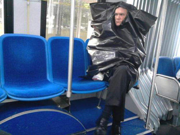 This guy riding the bus.