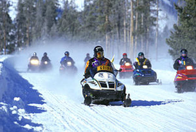 If you feel cooped up inside, you can travel around in a snowmobile.