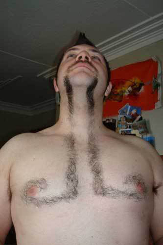 This guy who shaved his chest like this.