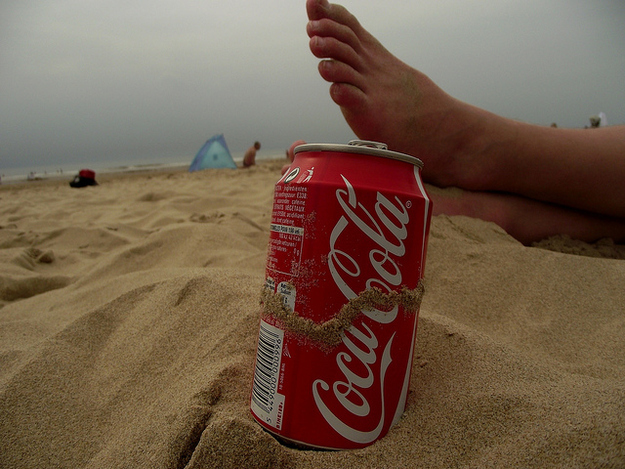 Sand around the rim of your soda can