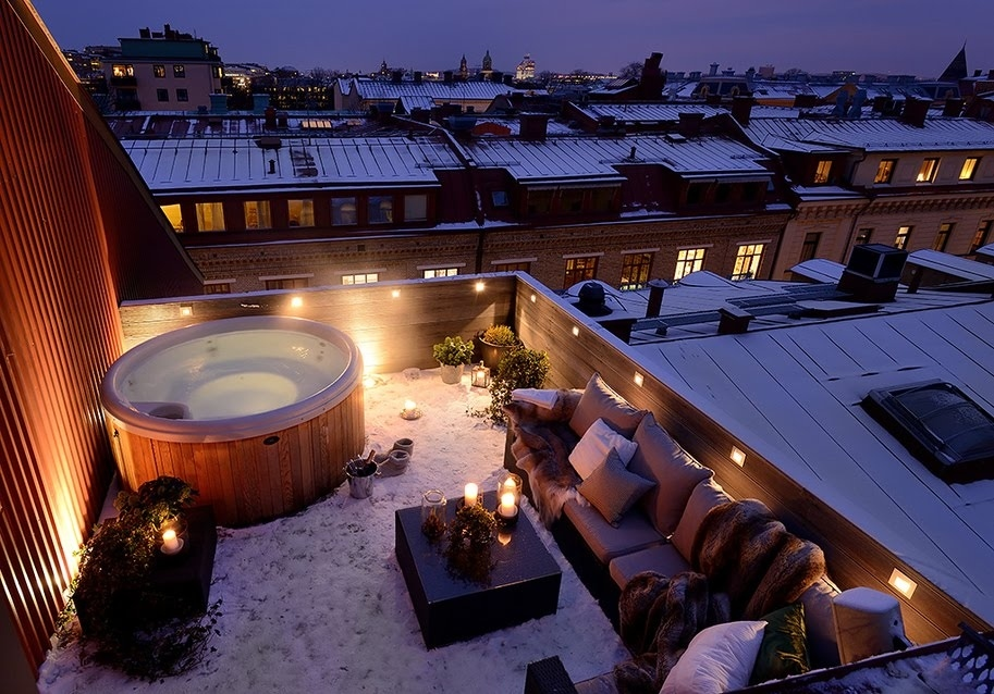 In this rooftop hot tub in Gothenburg, Sweden.