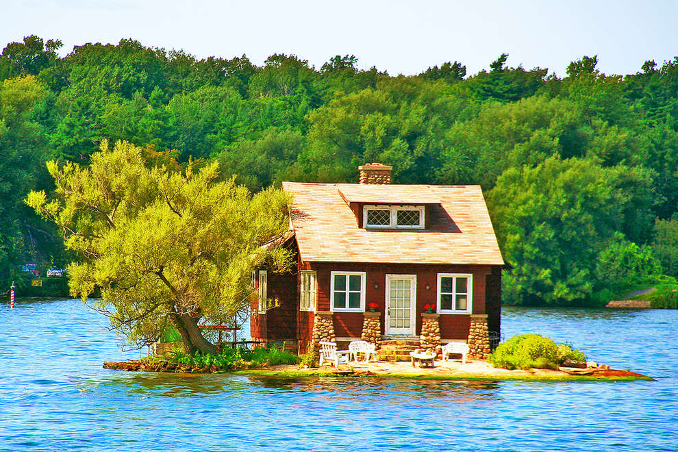 On this porch in Thousand Islands, Canada.