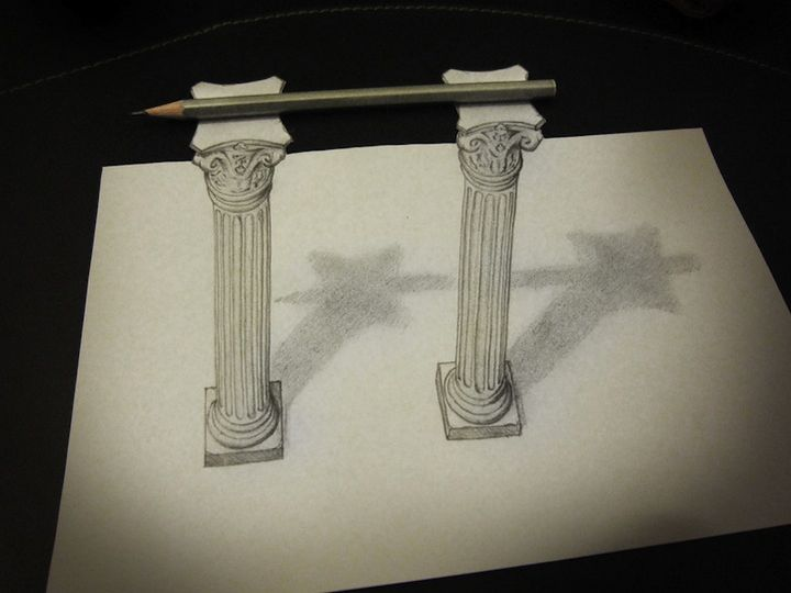 1025 Anamorphic 3D Pencil Drawings by Alessandro Diddi