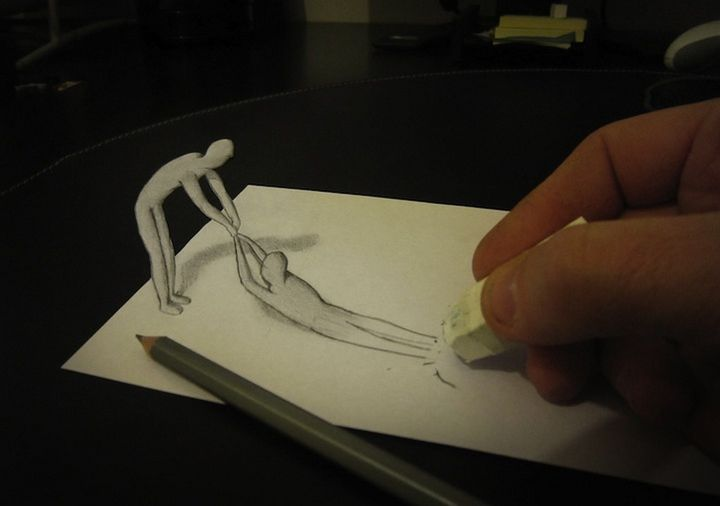 1224 Anamorphic 3D Pencil Drawings by Alessandro Diddi