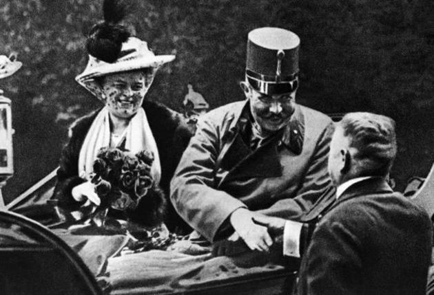 Archduke Franz Ferdinand with his wife on the day they were assassinated in 1914, an event that helped spark World War I.