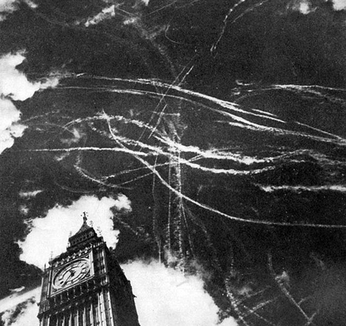 The London sky following a bombing and dogfight between British and German planes in 1940