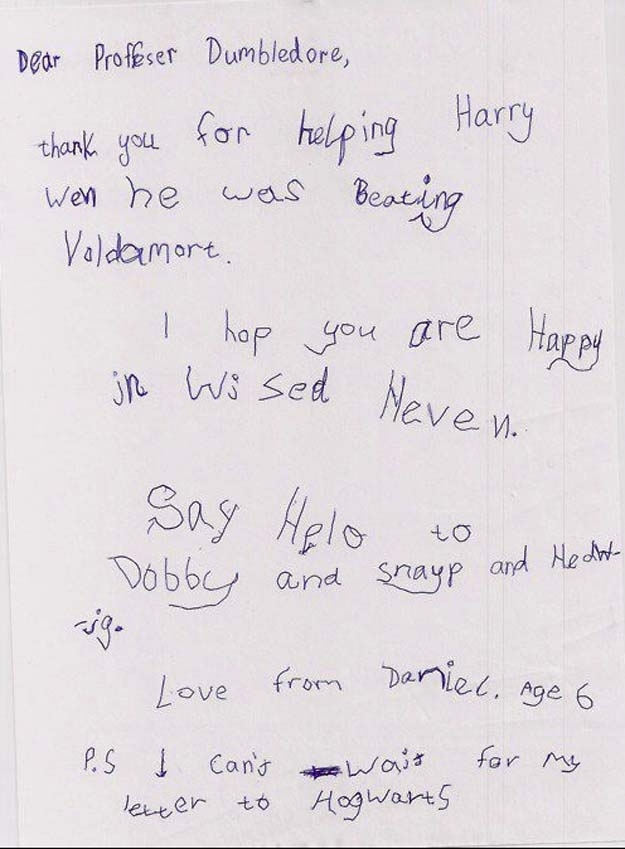 The letter this kid wrote to Professor Dumbledore (SPOILERS!)