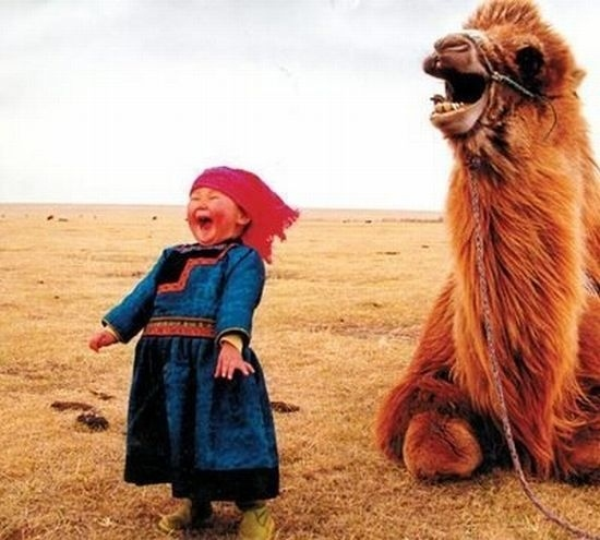 A laughing girl and her camel