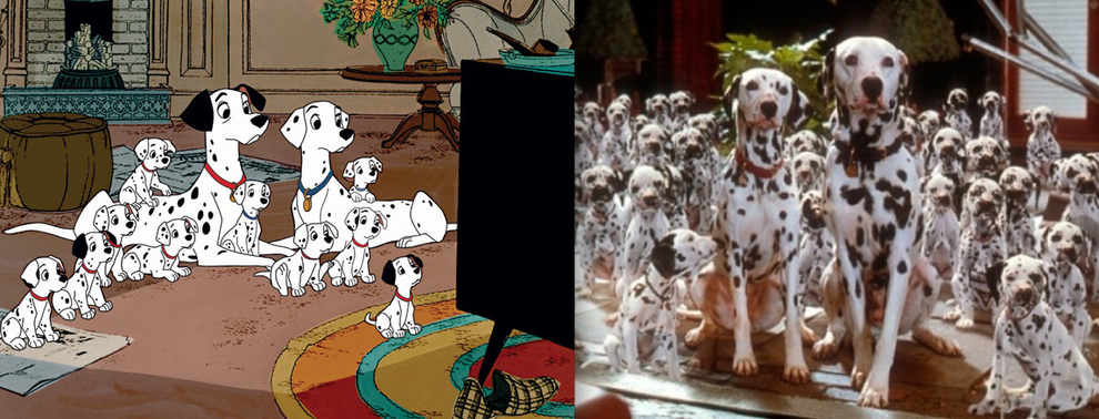 """101 Dalmatians"" - Pongo, Perdita and their litter of pups"