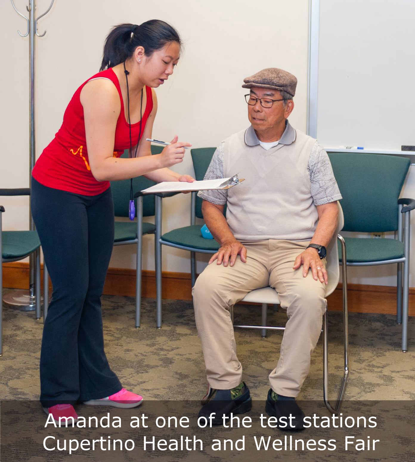 chair stand test measure fabric swivel and footstool senior fitness assessment at smart living health wellness fair