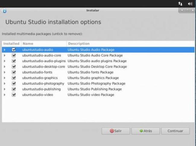 Ubuntu Studio 18.04 opciones de instalación