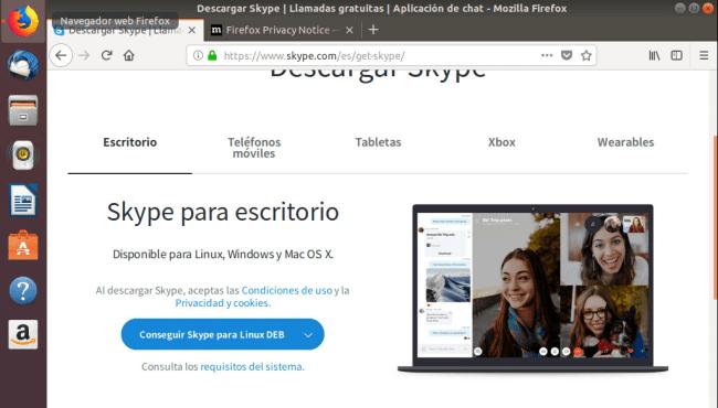 instalar skype en ubuntu 18.04 descargar programa