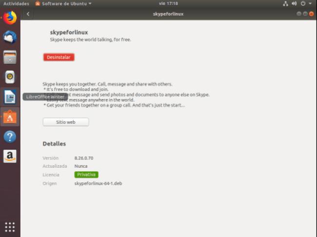 instalar skype en ubuntu 18.04 finalizar instalacion