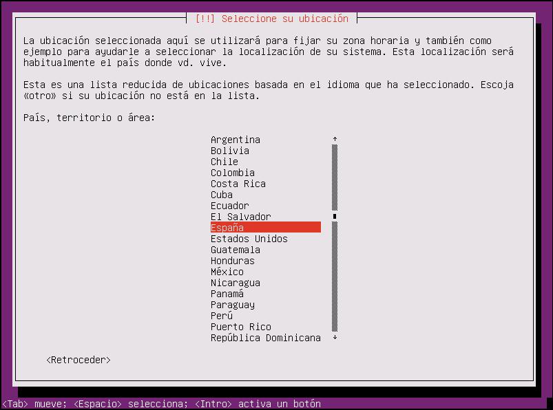 instalar ubuntu minimal 18.04 seleccionar ubicación