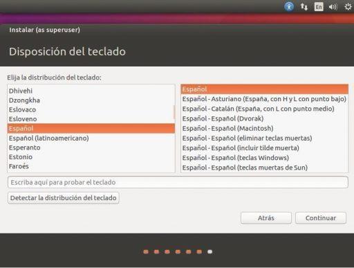 INSTALAR UBUNTU DESKTOP 16.04 LTS distribución de teclado