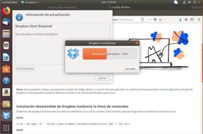 instalar dropbox en ubuntu 18.04 actualización