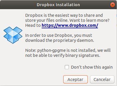 instalar dropbox en ubuntu 18.04 dropbox installation